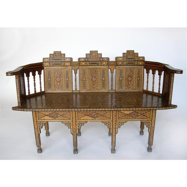 Petite Levantine/Syrian parquetry bench. Beautifully patterned with intricate inlay of shell, bone and fruitwood wood....