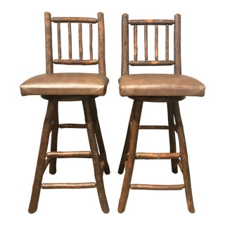 Amish Made Rustic Log Cabin Bar Stools - a Pair For Sale