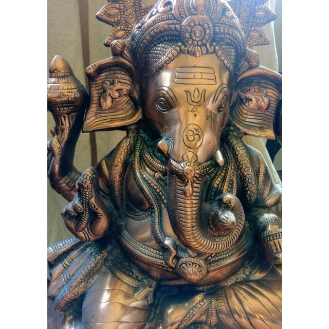 Gorgeous Bronzed All Metal Lord Ganesh Statue - Image 6 of 7
