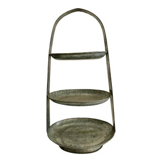Contemporary Three Tier Metal Serving Stand For Sale
