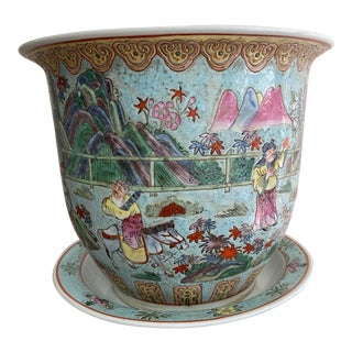Early 20th Century Vintage Chinese Famille Rose Porcelain Jardiniere With Underplate For Sale