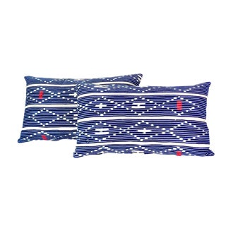 Tribal Denim Ikat Lumbar Pillows - a Pair For Sale