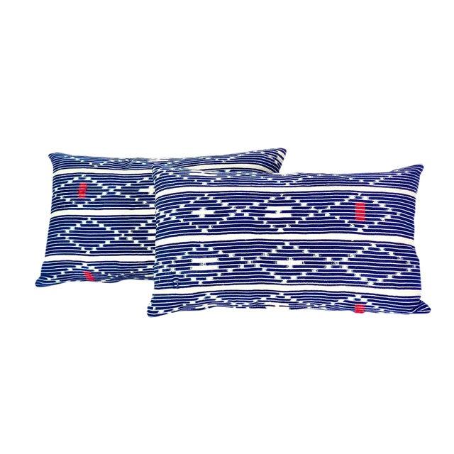 Tribal Denim Ikat Lumbar Pillows - a Pair For Sale