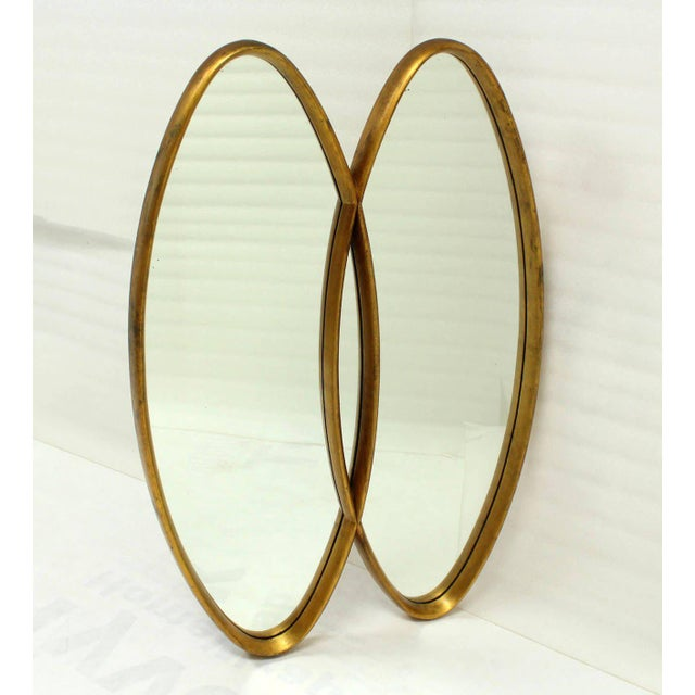 Gold Leaf Dual Interlocking Oval Gold Frame Mirror For Sale - Image 7 of 10