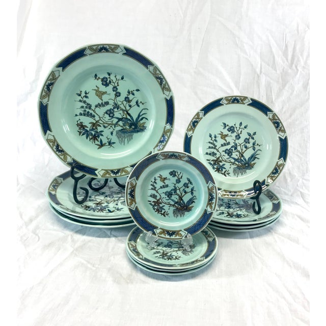 Blue Wedgwood Ironstone Ming Toi Dinnerware, Set of 12 For Sale - Image 8 of 8