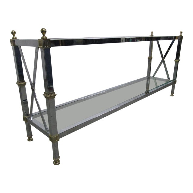 Chrome and Brass Console Table For Sale
