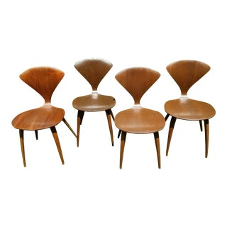 Norman Cherner Walnut Dining Chairs 4 For Sale