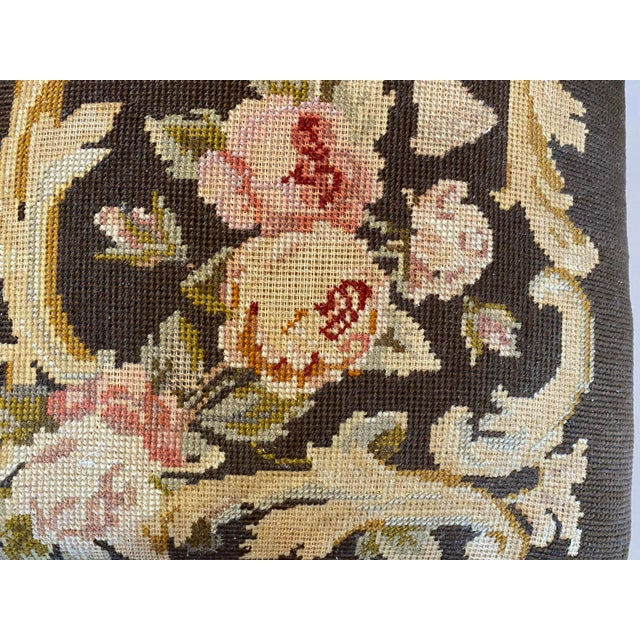 Wood Vintage Needle Point Drum and Flower Design Bench For Sale - Image 7 of 10