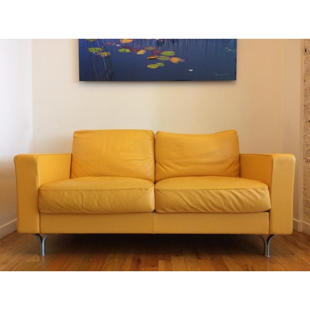 Poltrona Frau Prime Quality Yellow Sofa For Sale In New York - Image 6 of 6