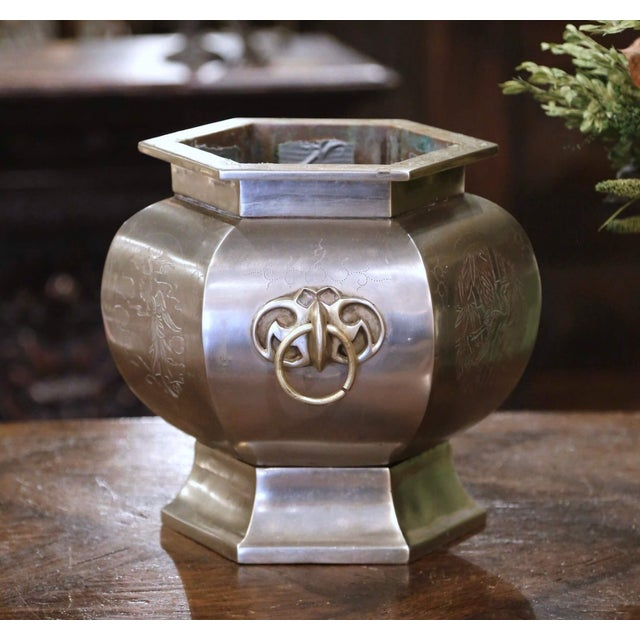 French 19th Century French Bronze and Silvered Engraved Planter With Floral Arrangement For Sale - Image 3 of 13