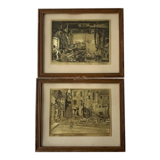 """Mid 20th Century """"Old Boat Works & Courtyard Venice"""" Gold Foil Etchings by Lionel Barrymore, Framed - a Pair For Sale"""