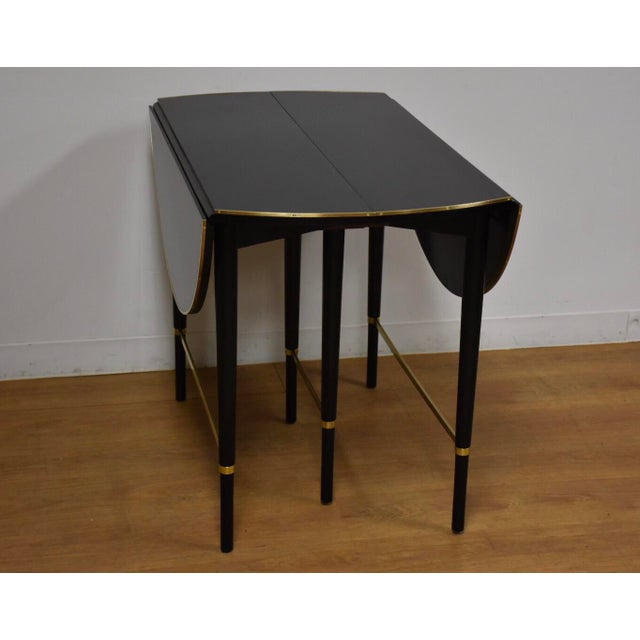 Paul McCobb Black Lacquer and Brass Dining Table For Sale - Image 10 of 11