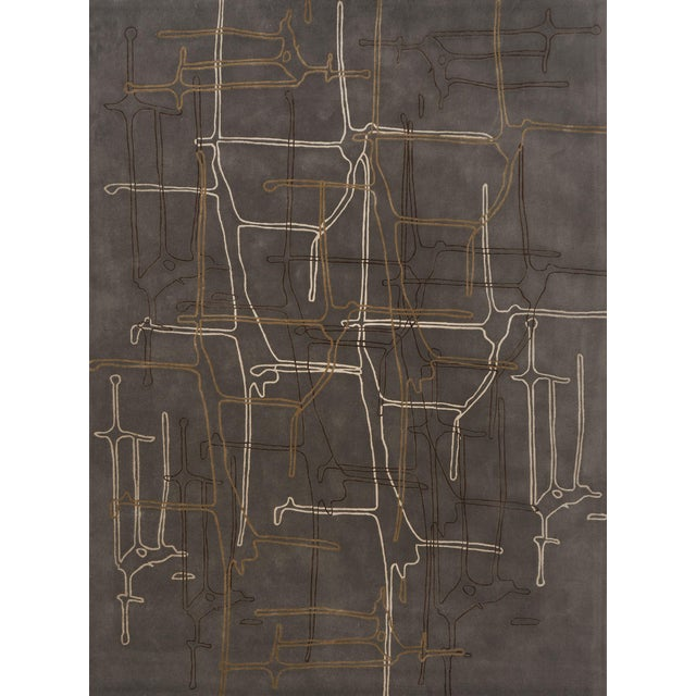 Schumacher Movement Abstract Area Rug in Hand-Tufted Wool Silk, Patterson Flynn Martin For Sale
