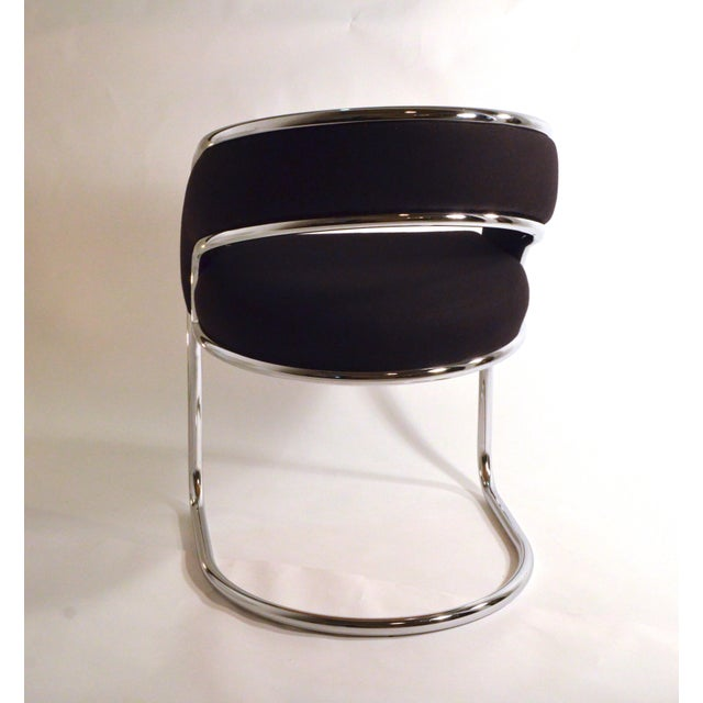 S / 4 Mid Century Modern Upholstered Chrome Sling Back Dining / Side Armchairs by Contemporary Shells Inc. - Image 3 of 5