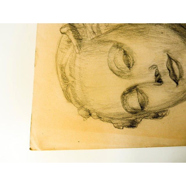 1920s Vintage Modern Female Head Portrait Drawing For Sale - Image 5 of 7