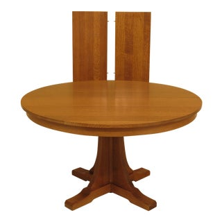 1990s Mission Stickley Round Oak Dining Table For Sale