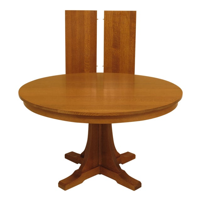 Fantastic 1990S Mission Stickley Round Oak Dining Table Complete Home Design Collection Lindsey Bellcom