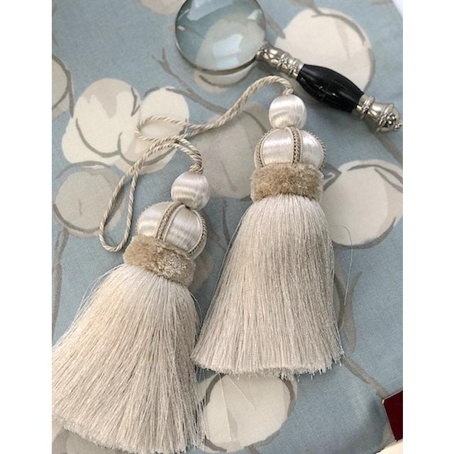 Pair of Ivory key tassels with hand cut velvet ruche, decorative gimp and twisted cord detail. Total height, per tassel...