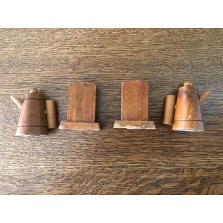 Vintage Wooden Novelty Souvenir Salt and Pepper Shakers - Set of 4 Preview