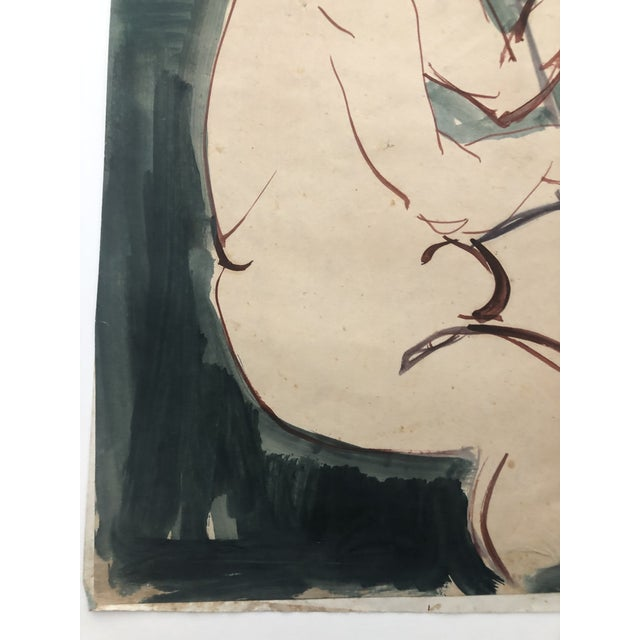 Mid-Century Female Nude With Violin Watercolor 1960s For Sale - Image 6 of 12