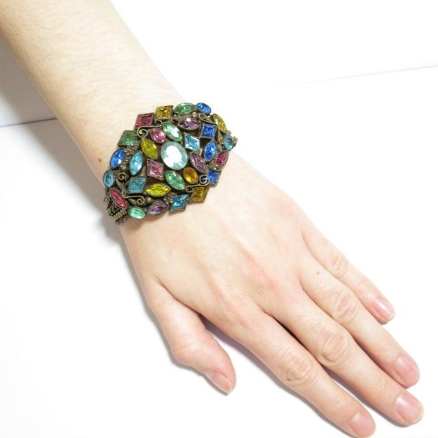 Czech Art Deco Jewel-Tone Bohemian Crystal & Chains Bracelet 1920s For Sale - Image 12 of 13