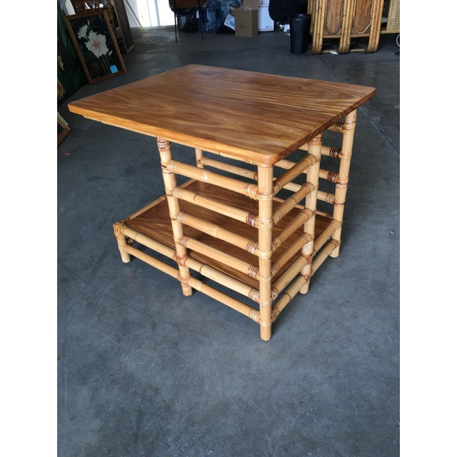 "Tan Restored Mid Century Rattan Floating ""Jacob's Ladder"" Side Table For Sale - Image 8 of 8"