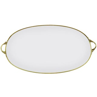 19th Century French Polished Brass and Glass Oval Tray With Handles For Sale