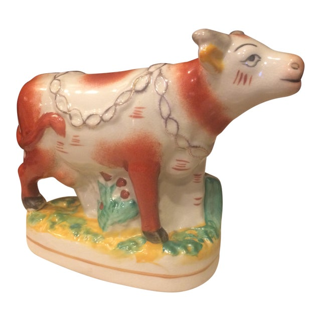 Staffordshire Style Ceramic Cow Figurine For Sale