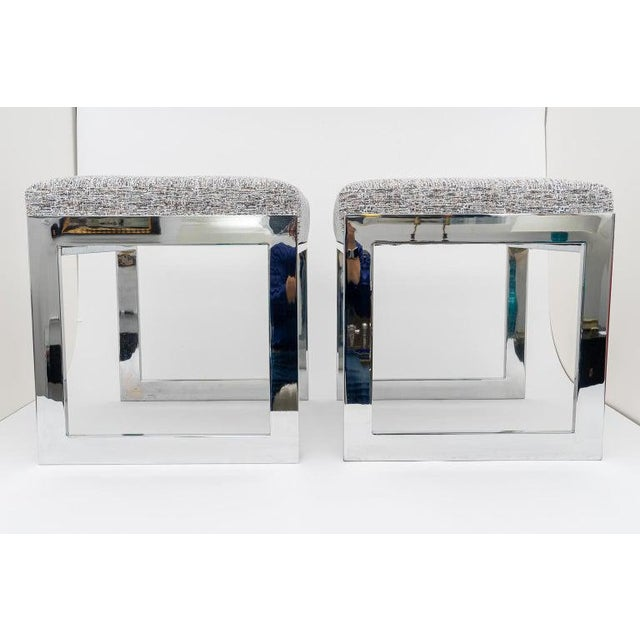 Mid-Century Modern Milo Baughman Mid-Century Flat-Bar Nickel Plated Benches - a Pair For Sale - Image 3 of 11
