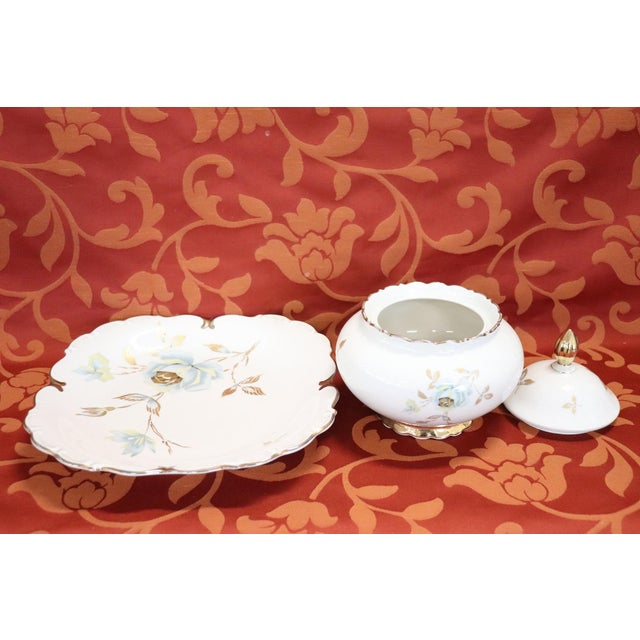 1930s Hand Painted and Gold Porcelain Centerpiece by J Seltmann 2 Pieces, 1930s For Sale - Image 5 of 11