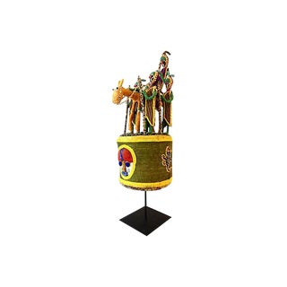 African Yoruba Beaded Crown on Stand For Sale