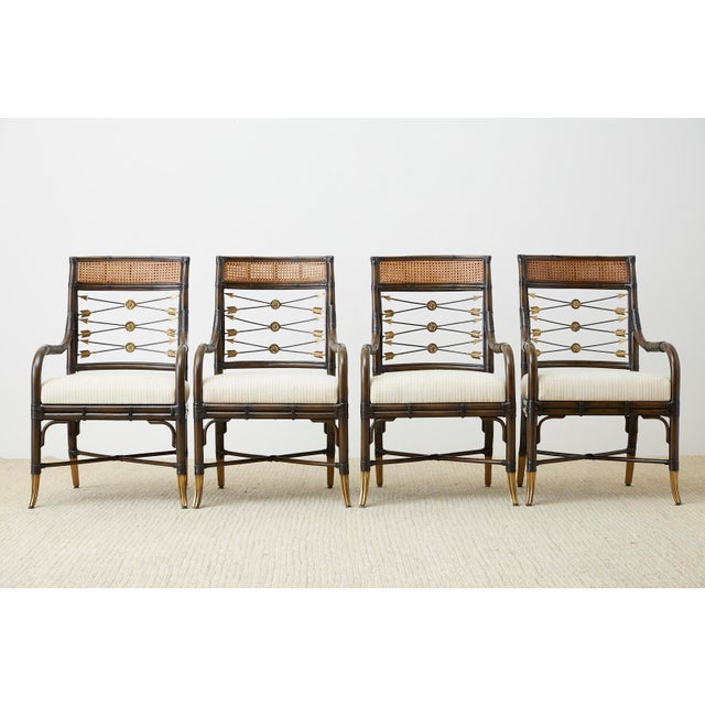 Neoclassical Set of Four Neoclassical Style Rattan Dining Armchairs For Sale - Image 3 of 13