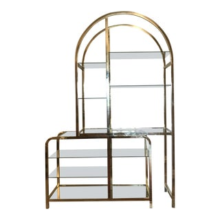 Milo Baughman Style Brass and Glass Adjustable Width Étagère For Sale