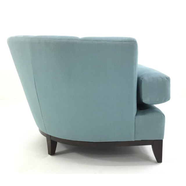 Henredon Barbara Barry for Henredon Robins Egg Blue Channel Back Tub Club Chair For Sale - Image 4 of 7