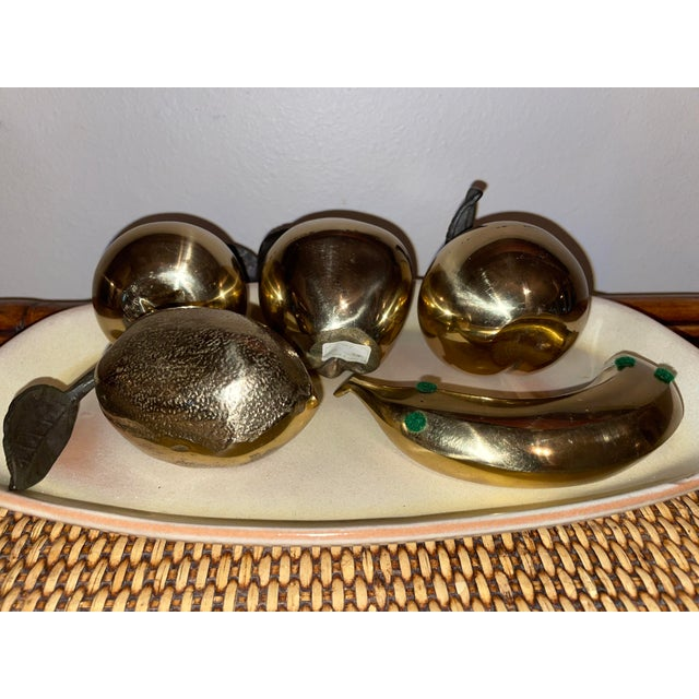 How precious are these? A set of 5 pieces of brass fruit: apple, pear, banana, peach and lemon. 2 still with tags, made in...