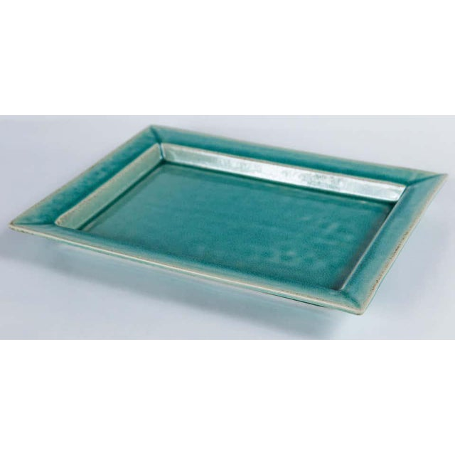 Contemporary Vintage Crackle-Glaze Ceramic Tray, by Jars, France, Mid-20th Century For Sale - Image 3 of 11