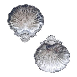 Silverplate Clam Shell Trinket Dishes - A Pair For Sale