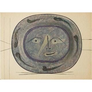 1955 Pablo Picasso Smiling Face Ceramic Plate, Original Period Swiss Lithograph For Sale