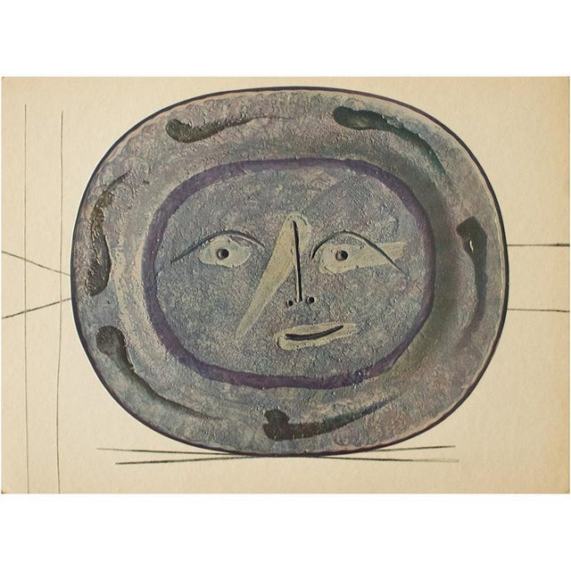 1950s 1955 Pablo Picasso Smiling Face Ceramic Plate, Original Period Swiss Lithograph For Sale - Image 5 of 6