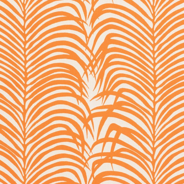 Contemporary Schumacher Zebra Palm Indoor/Outdoor Fabric in Orange For Sale - Image 3 of 3