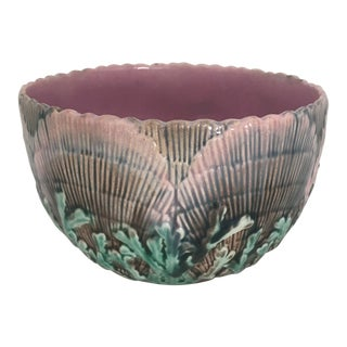 "Antique Majolica Etruscan ""Shell and Seaweed"" Bowl"