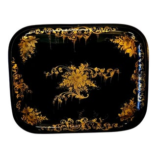 Hand Painted Toleware Tray France 1850 For Sale