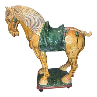 Early 20th Century Chinese Pottery Horse Sculpture For Sale