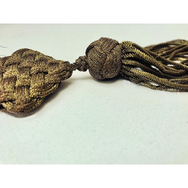 French Late 1800s Antique French Gold Metallic Bullion Tassel For Sale - Image 3 of 8
