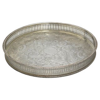 Vintage Silver-Plate Reticulated Gallery Tray For Sale