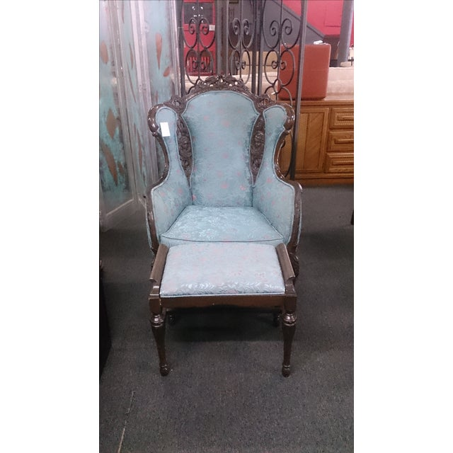 Wingback Victorian Chair and Ottoman - Image 2 of 5