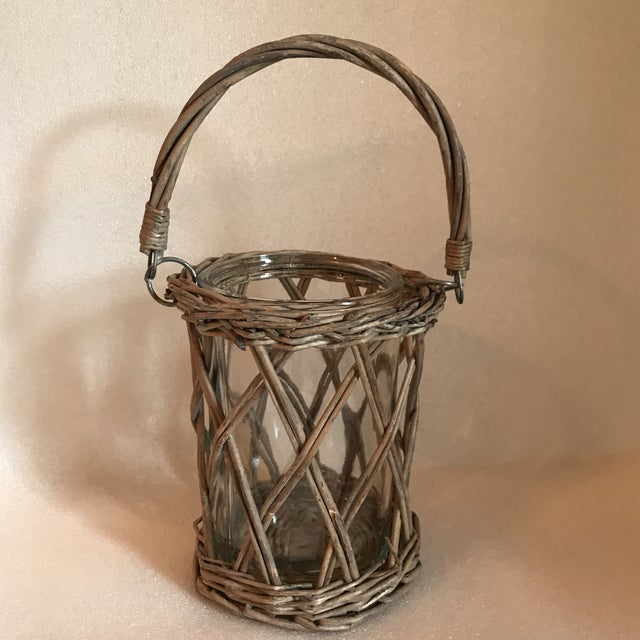 Brown Wicker and Glass Vase With Handle For Sale - Image 8 of 8