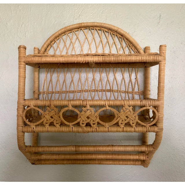 20th Century Boho Chic Wrapped Woven Natural Wicker Rattan Bathroom Shelf For Sale - Image 12