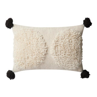 """Justina Blakeney X Loloi Ivory / Black 22"""" X 22"""" Cover with Down Pillow For Sale"""