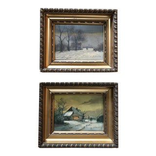 20th Century French Oil on Wood Framed Landscapes - a Pair